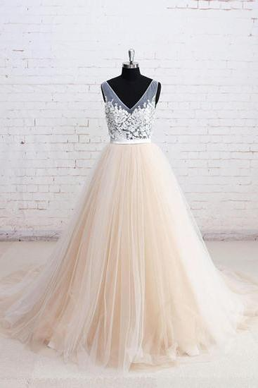 Champagne tulle wedding dress,V neck long wedding dresses, lace appliques wedding dress, A-line formal prom dress