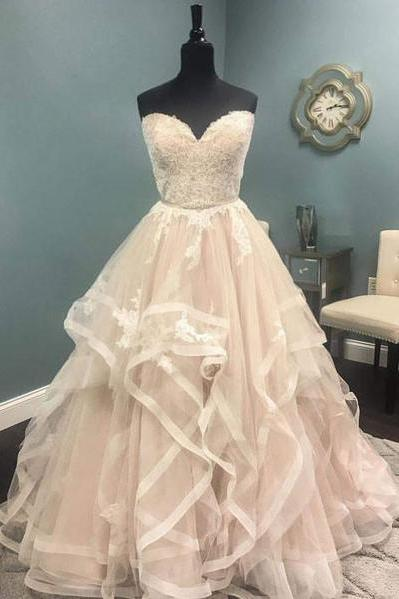 Strapless champagne wedding dresses,lace long wedding dress, formal evening dresses