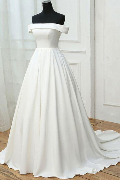 Simple white satin prom dresses,off shoulder long sweet 16 prom dress, long pageant dress