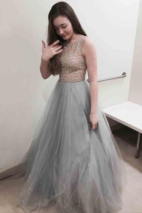 Princess Prom Dresses,Scoop Neck Prom Gown,Tulle Prom Dress,Floor-length Evening Dress,Beading Prom Dresses,Gray Prom Dres P0082