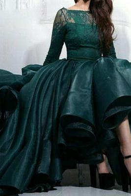 Ball Gown Prom Dresses,Elegant Ankle Length Prom Dress,Long Sleeves Lace Prom Dress,Ruffles Tiered Organza Prom Party Dresses