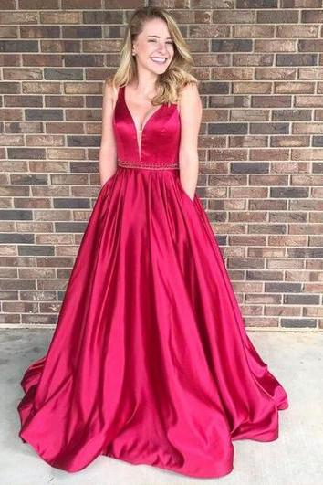 Sexy v collar swing prom dress with pockets, graduation dress, formal evening dress