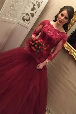Burgundy Long Sleeve Tulle Wedding Dresses , Appliques Ball Gown Wedding Gown, Elegant Bridal Dresses