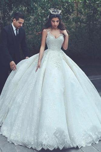 Charming Tulle Ball Gown Wedding Dress, Appliques Lace Wedding Dresses,Appliques Wedding Gown Bridal Dress