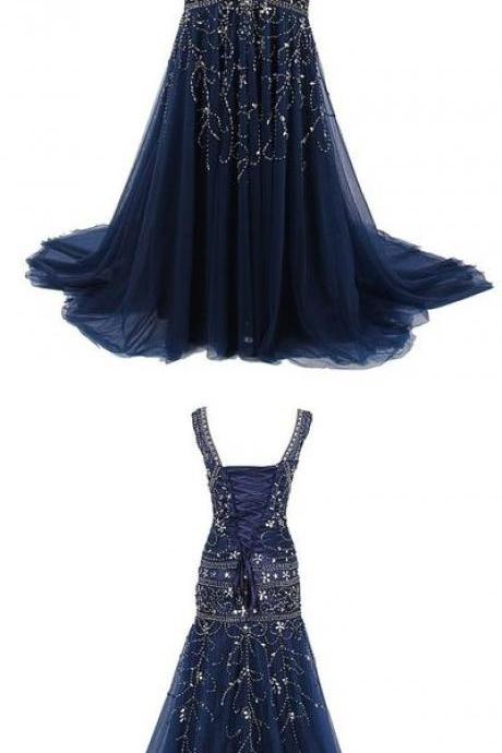 navy blue long prom dress, prom dresses, long prom dress, mermaid evening dress, formal dress