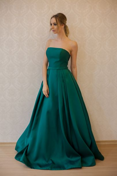 Simple A-Line Prom Dress,Strapless Green Prom Dresses,Satin Long Prom/Evening Dress