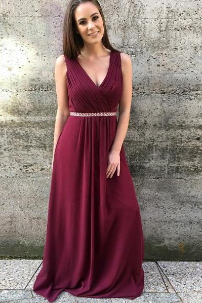 Burgundy Prom Dress,A-Line V-Neck Prom Dresses,Chiffon Burgundy Prom Dress with Beading,Long Evening Dress