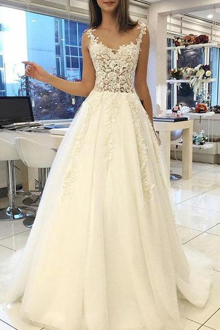 White Lace Wedding Dress,Sweetheart Long Wedding Dresses,Straps Bridal Dress,Tulle Long Wedding Gowns