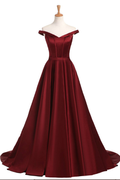 Burgundy Satin Prom Dress,Long Prom Dresses,Prom Dresses,Evening Dress, Evening Dresses,Prom Gowns, Formal Women Dress