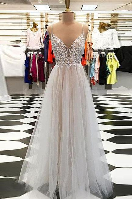 Champagne A line prom dress,v neck tulle long prom dresses, champagne evening dress Prom Gowns, Formal Women Dress