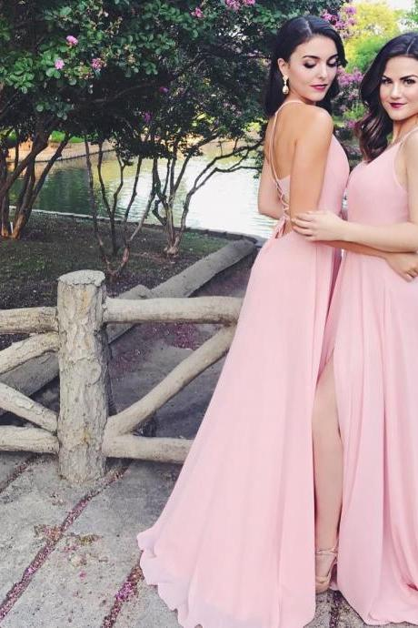 Sexy Pink Chiffon Evening Dress, A Line Prom Party Gown