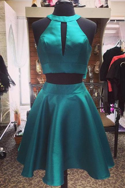 Cute green two pieces homecoming dress,short prom dress, homecoming dress