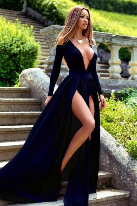 Long Sleeve Deep V-Neck Prom Dress Slit Party Gowns High Quality Wedding Dresses, Quinceanera Dresses,Formal Dress