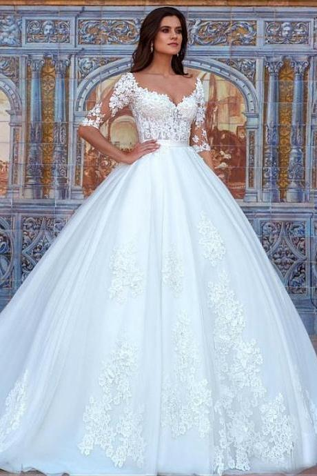 Half Sleeves Wedding Dress with Lace Detailing