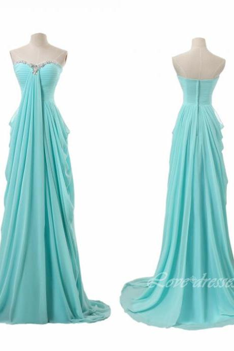 Bule Chiffon Prom Dresses,Long Evening Party Dresses,Sweetheart Collar Prom Gown