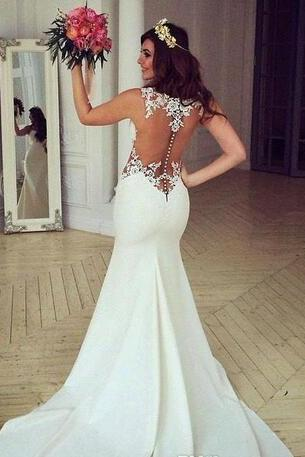 Mermaid Style Winter Lace Wedding Dress,Appluqes Wedding Dresses,Crew Trumpet Backless Wedding Dresses,Sweep Train Custom Made Bridal Gowns