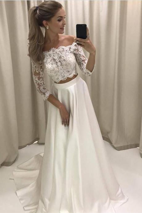 White Lace Prom Dress,Two Pieces Prom Dresses,Lace Sleeves Formal Dresses,Lace Party Dress,Custom Made Prom Dress,Sexy Prom Dress,Long Evening Dress,New Style Formal Dress