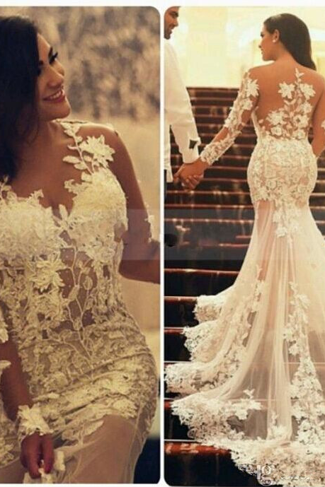 Mermaid Bridal Gowns Wedding Dresses, Court Train Wedding Dress,Long Sleeve Plus Size Bridal Dresses