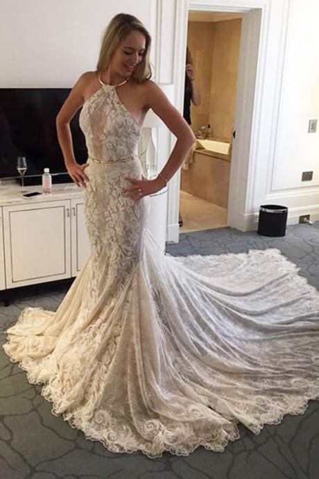 Elegant Halter Wedding Dress,Mermaid Beach Wedding Dresses,Lace Sleeveless Sweep Train Wedding Dress with Sash