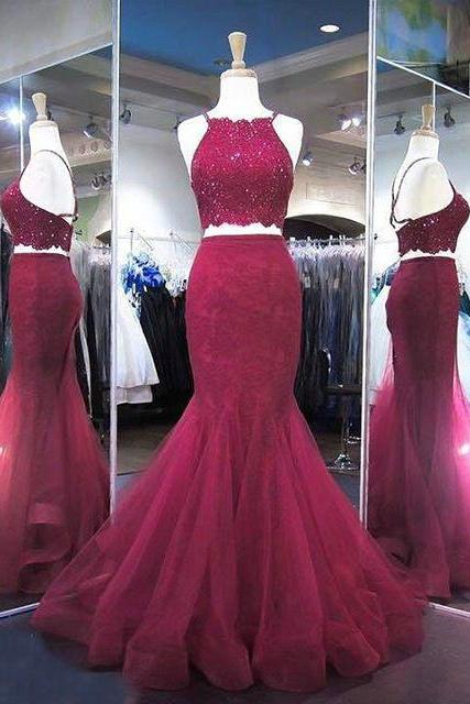 Cross Back Beads Mermaid Burgundy Prom Dresses,Two Piece Prom Dresses,Lace Prom Dresses,Mermaid Evening Gowns,Tulle and Lace Formal Dresses