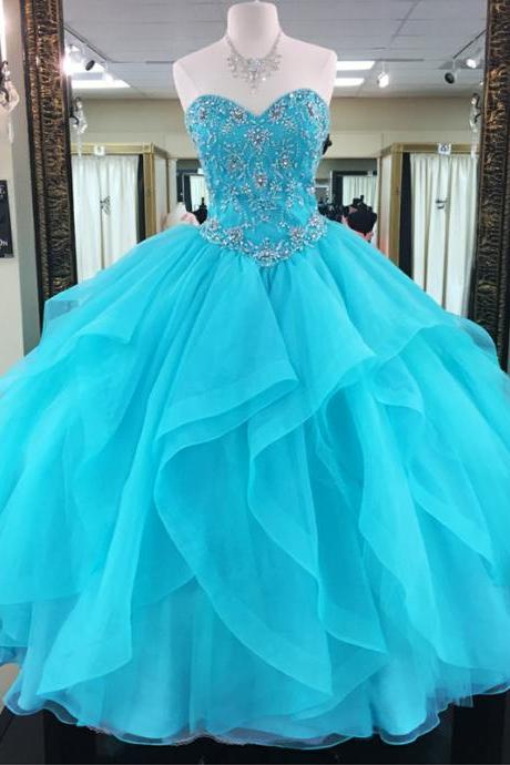 Charming Prom Dress,Ball Gown Prom Dresses,Blue Tulle Quinceanera Dress,Beaded Evening Dress,Formal Dress