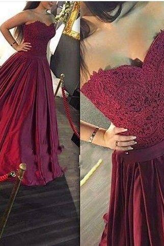 Charming Prom Dress,Sweetheart Prom Dress,Appliques Prom Dress,Satin Evening Dress