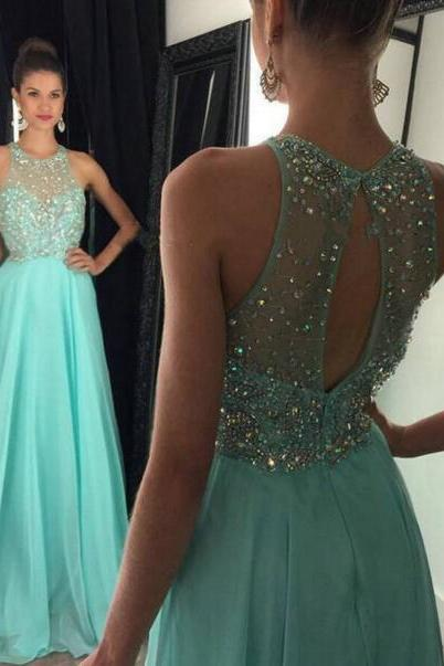 Charming Bule Prom Dress,Chiffon Prom Dresses,Prom Dress,Lace Evening Dress