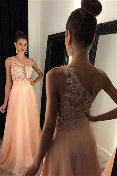 One Shoulder Prom Dress, Sleeveless Prom Dresses, Chiffon Prom Dress, A-line Prom Dress, Beading Prom Dress, Sexy Prom Dress, Evening Dress, Long Evening Dress, Evening Gown, Party Dress