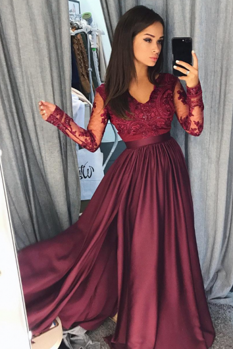 Wine red order ball gown prom dress, a line formal dress, long sleeves evening dress
