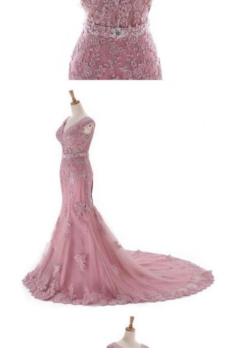 mermaid prom dresses ,long pink prom gowns, lace evening dress,Evening Dresses,Prom Gowns, Formal Women Dress