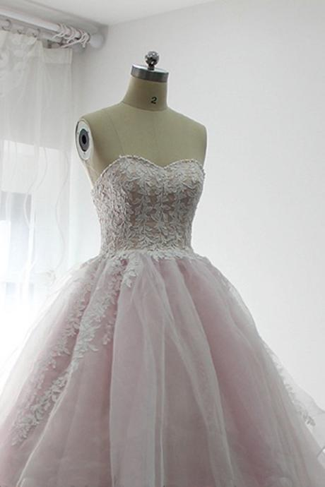 sweetheart baby pink prom dresses,long tulle prom dress, long white lace prom dresses,appliques evening dress
