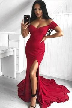Charming Mermaid Prom Dress, Sexy Red Evening Dress, Split Side Long Party Dress, Formal Dresses