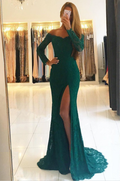 Mermaid Off-the-Shoulder Prom Dress,Long Sleeves Prom Dresses,Dark Green Lace Prom Dress with Split,evening gowns,Prom Dresses,Appliques Lace Long Dress
