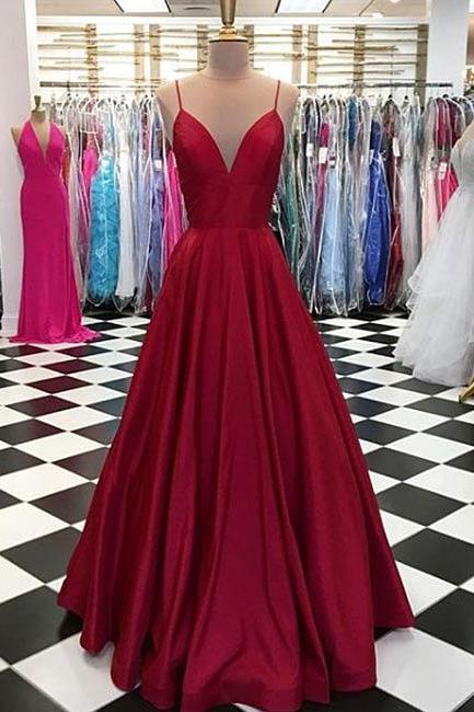 Simple Spaghetti Straps Prom Dresses,V-Neck Evening Dresses,Burgundy Prom Dress,Satin Formal Dress