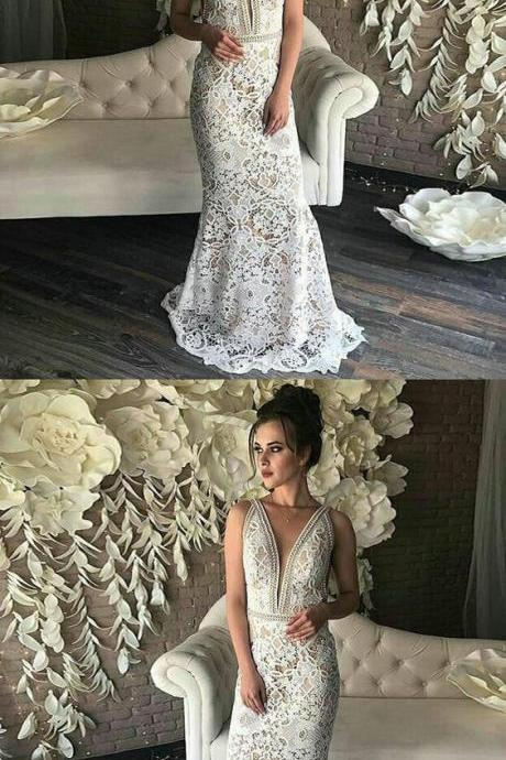 Mermaid Prom Dress,Deep V-Neck Prom Dresses,Sleeveless Evening Dresses,Sweep Train White Lace Prom Dress,Prom Dresses,Appliques Lace Long Dress