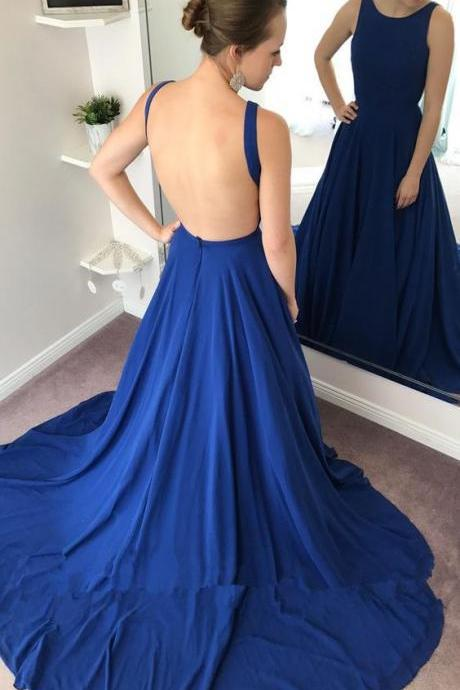 A-Line Round Neck Prom Dress,Backless Sweep Train Prom Dresses,Royal Blue Prom Dress, modest royal blue Evening Dresses,backless long prom dresses, unique round neck sweep train evening dress