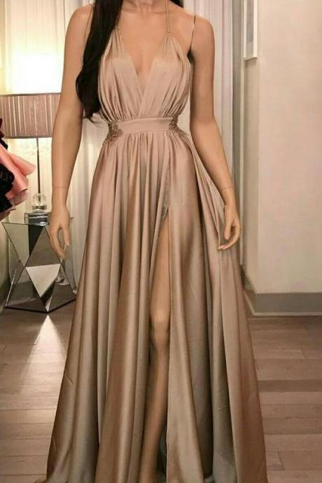 Evening Dresses,High Split Sexy Prom Dress,Floor Length Long Prom Dresses