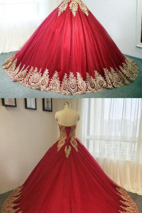 Gold Lace Embroidery Wedding Dress,Sweetheart Tulle Wedding Dresses ,Burgundy Ball Gowns For Bride,Long Bridal Dresses