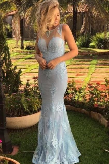 elegant light blue mermaid prom dresses, simple round neck tulle evening gowns, unique round neck party dresses with appliques