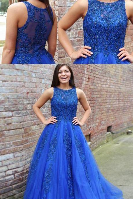A-Line Round Neck Prom Dresses,Sweep Train Royal Blue Prom Dress with Lace Beading, modest royal blue long prom dresses with lace, unique round neck evening dresses with appliques