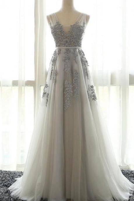 Elegant Appliques Tulle Prom Dresses,Long Homecoming Dress, V Neck Grey Prom Dress, Formal Evening Dress