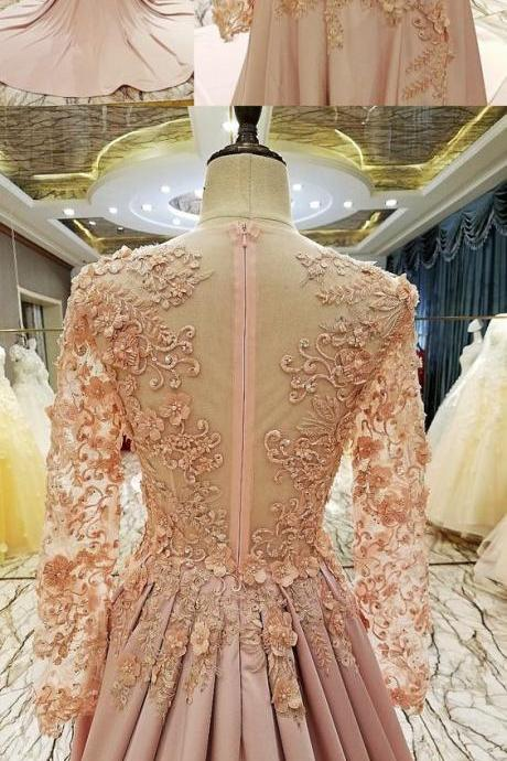 Pink Prom Dresses,Brush Train Long Sleeve Prom Dress,Lace Popular Prom Dresses,Evening Dress