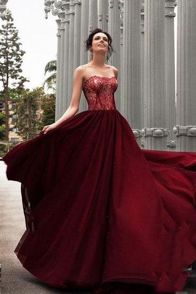 Glamorous A-Line Prom Dress,Strapless Burgundy Long Prom Dresses,Evening Dress With Lace