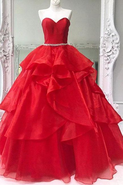 Red Simple Prom Dresses,New Prom Gown,Vintage Prom Gowns,Red sweetheart neck tulle long prom dress, ball gown Prom Gown