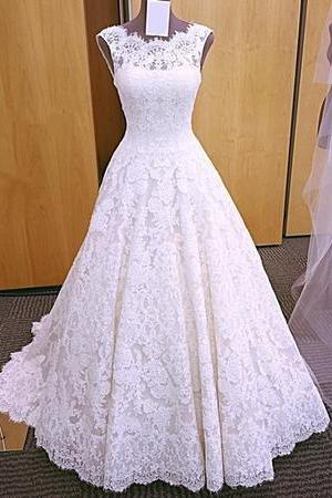 Elegant A Line Lace Wedding Dress, Sleeveless Open Back Wedding Dresses, Bridal Dresses