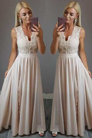 Charming Prom Dress, Sleeveless Prom Dresses,Appliques Evening Dress, Floor Length Party Dress