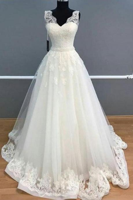 Elegant A-Line Wedding Dresses,V-Neck Sleeveless Wedding Dress,White Long Prom Wedding Dress With Lace