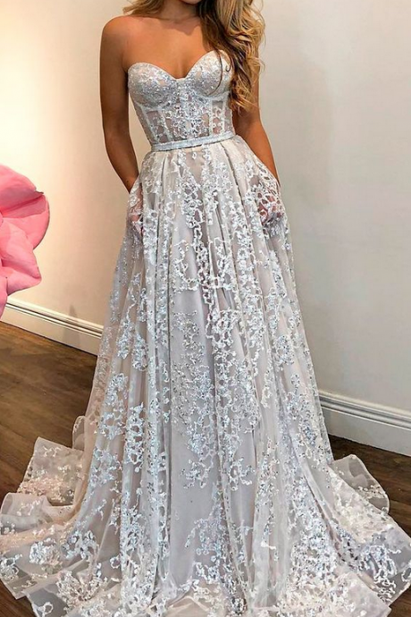 strapless long wedding dresses,sexy evening dress,charming wedding dress