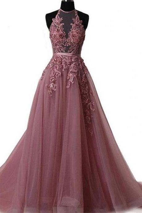 Long Prom Dress Halter Brush Train Simple Lace Prom Dress/Evening Dress