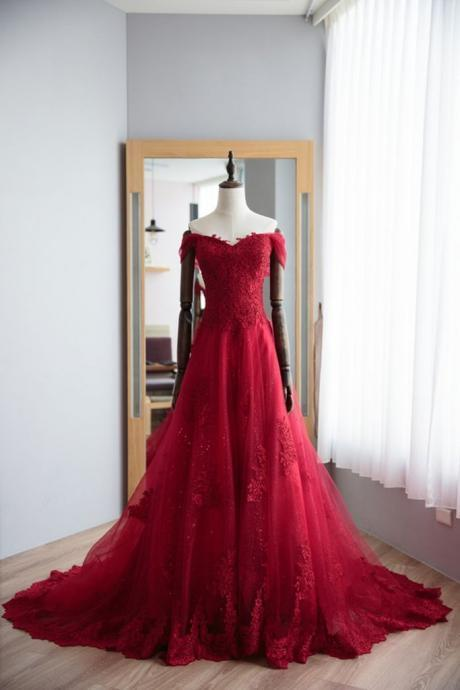 Red Prom Dresses, Elegant Prom Dress, Tulle Prom Dress, Appliques Long Evening Dress, Formal Evening Gown ,Evening Dress, Prom Gowns, Formal Women Dress,prom dress